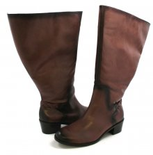Rose Petals Curly Super Wide Calf Leather Riding Boot Tobacco