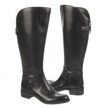 Franco Sarto Women's Cricket Wide Calf Riding Boot Black Leather