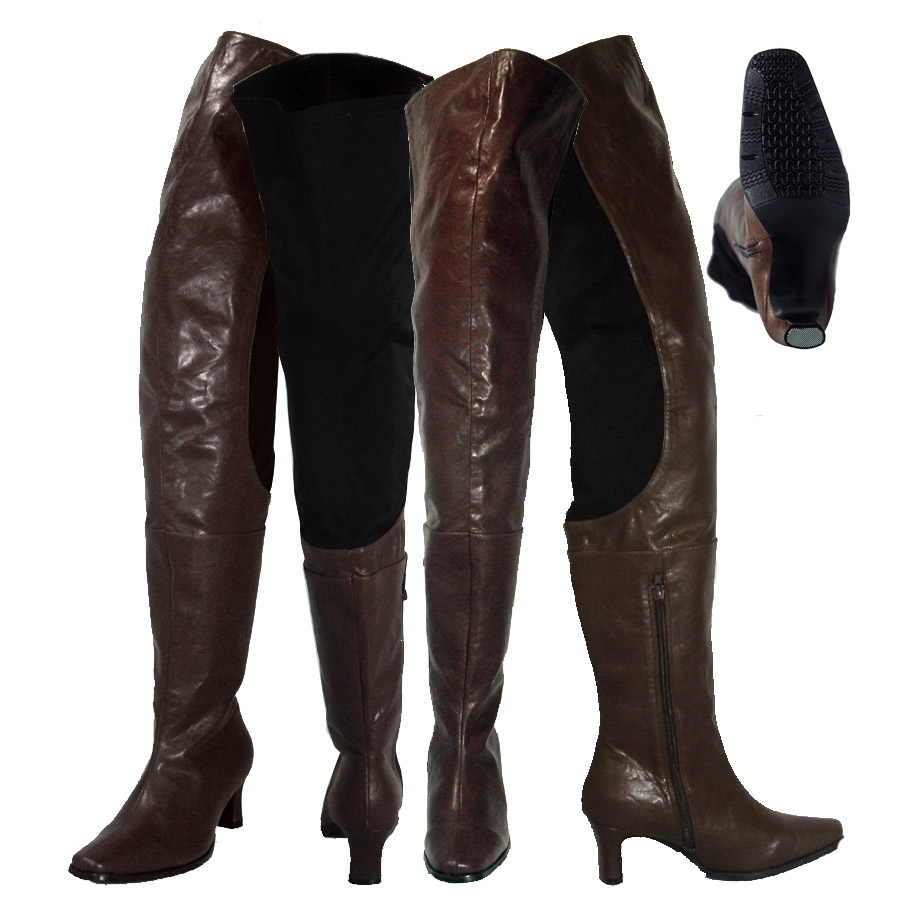 Peearge LB7060 Ladies Thigh High Boots Brown Leather [Peerage ...