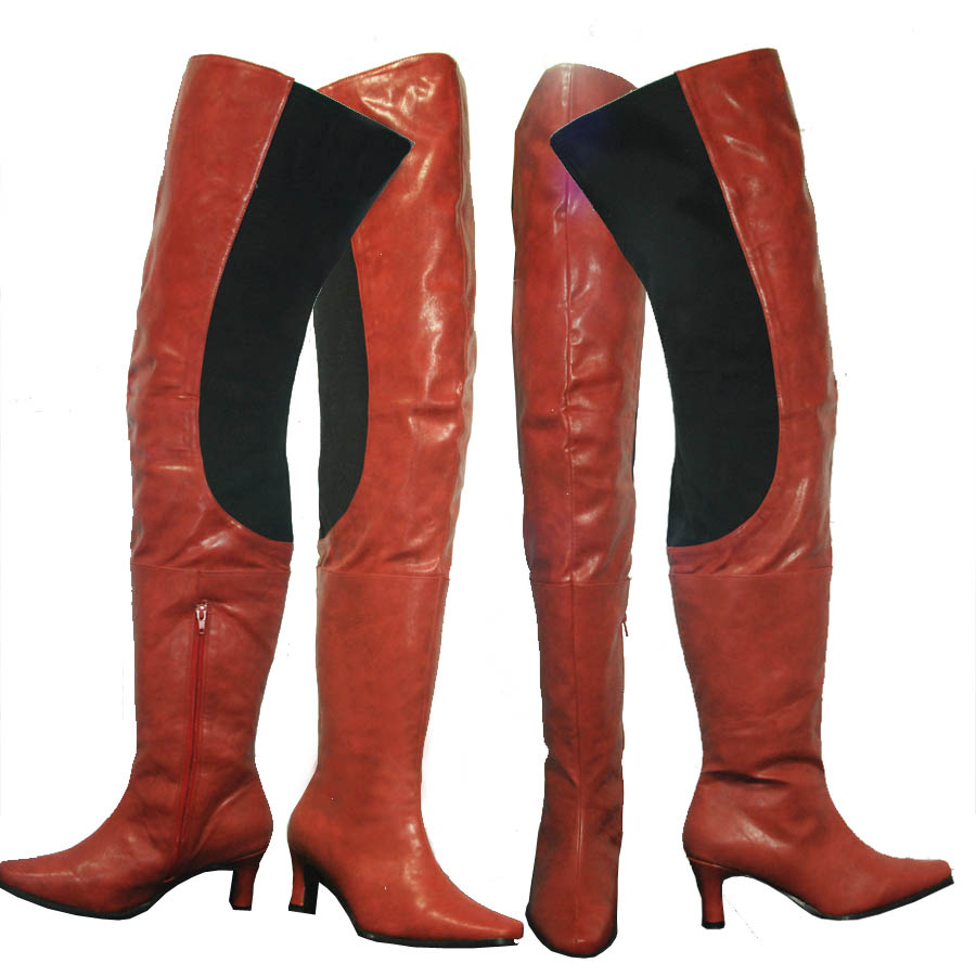 8717a36c6e32 Peearge LB7060 Ladies Thigh High Boots Red Leather  Peerage-lb7060 ...