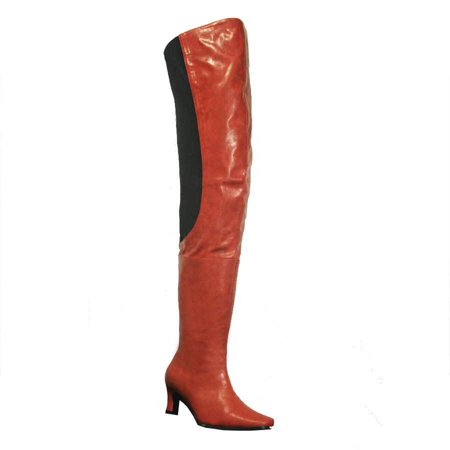 Peearge Lb7060 Ladies Thigh High Boots Red Leather