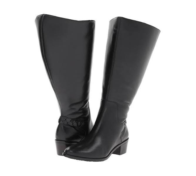 831dd793ceac3 Rose Petals Curly Super Wide Calf Leather Riding Boot Black ...