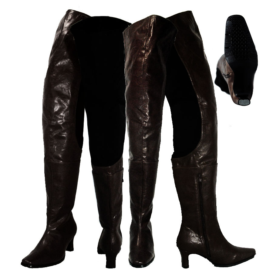 famous brand factory outlet hot products Peearge LB7060 Ladies Thigh High Boots Black Leather [Peerage ...