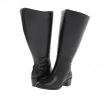 Rose Petals Curly Super Wide Calf Leather Riding Boot Black