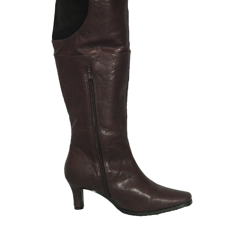 Peearge Lb7060 Ladies Thigh High Boots Brown Leather