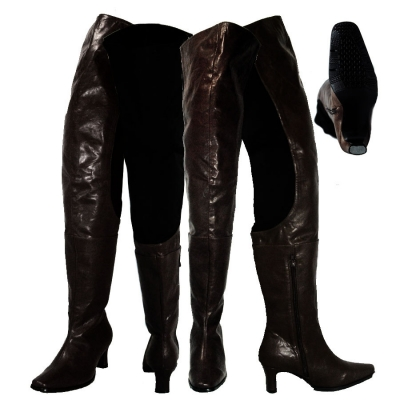 Peearge LB7060 Ladies Thigh High Boots Black Leather
