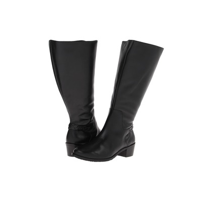 Rose Petals Women's Curly Wide Calf Leather Riding Boot Black