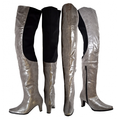 Peearge LB7060 Ladies Thigh High Boots Gray Leather