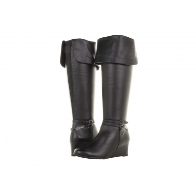 Ros Hommerson Tami Extra Wide Shaft Black Leather wedge boot